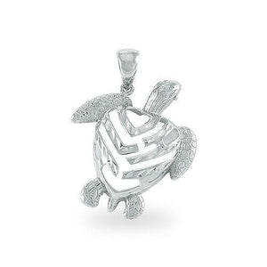 ALOHA HONU TURTLE PENDANT IN 14K GOLD - SMALL