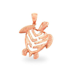 Aloha Heart Turtle Pendant in 14K Rose Gold- Small