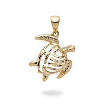 画像をギャラリービューアに読み込む, ALOHA HONU TURTLE PENDANT IN 14K GOLD - EXTRA EXTRA SMALL