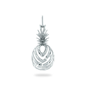 ALOHA PINEAPPLE PENDANT IN 14K WHITE GOLD - EXTRA SMALL