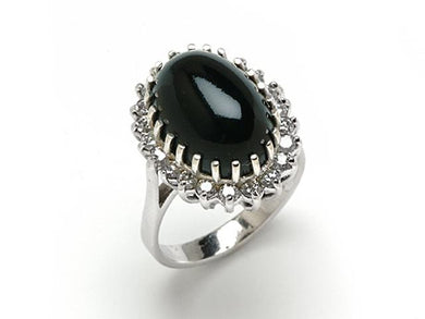 Black Coral Ring with Diamonds in 14K White Gold