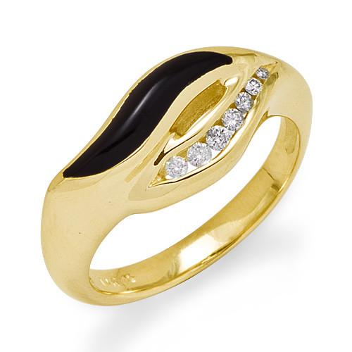 50th Anniversary Black Coral Ring with Diamonds in 14K Yellow Gold