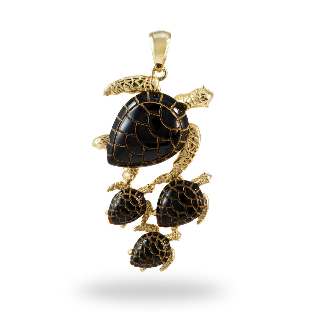 Black Coral Turtle Pendant in 14K Yellow Gold