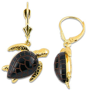 Black Coral Turtle Earrings in 14K Yellow Gold - Medium