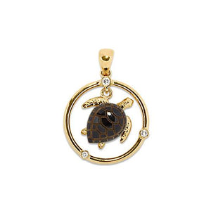 Black Coral Turtle Pendant with Diamonds in 14K Yellow Gold (12mm)