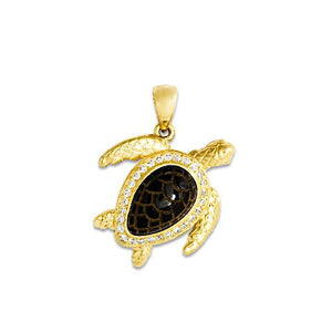 Black Coral Turtle Pendant with Diamonds in 14K Yellow Gold - 18mm