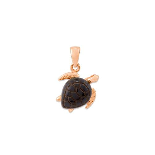 Black Coral Turtle Pendant in 14K Rose Gold - Small