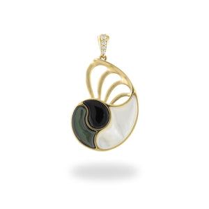 Black Coral with Diamonds and Mother of Pearl Nautilus Pendant in 14K Yellow Gold - 28mm