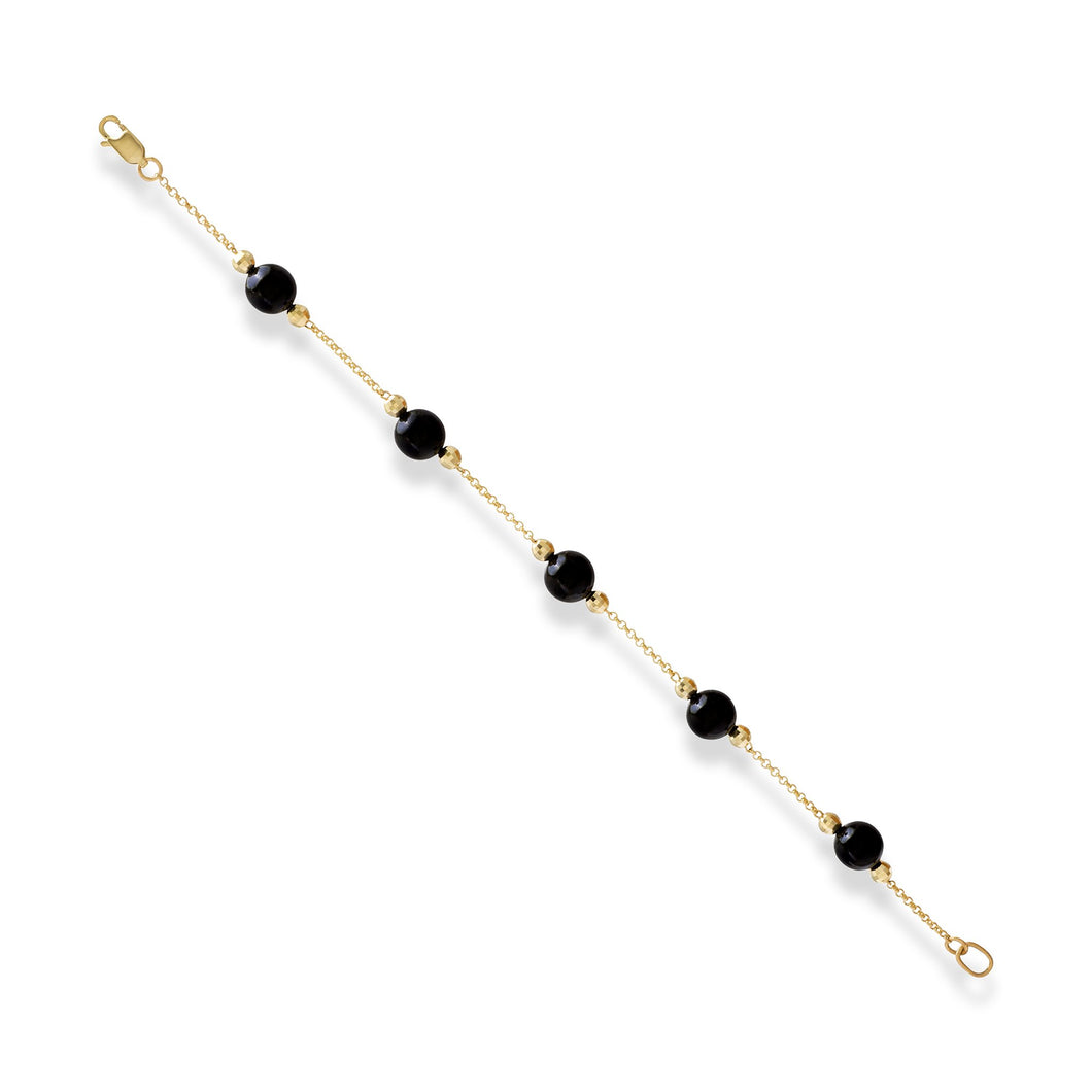 Black Coral Bracelet in 14K Yellow Gold