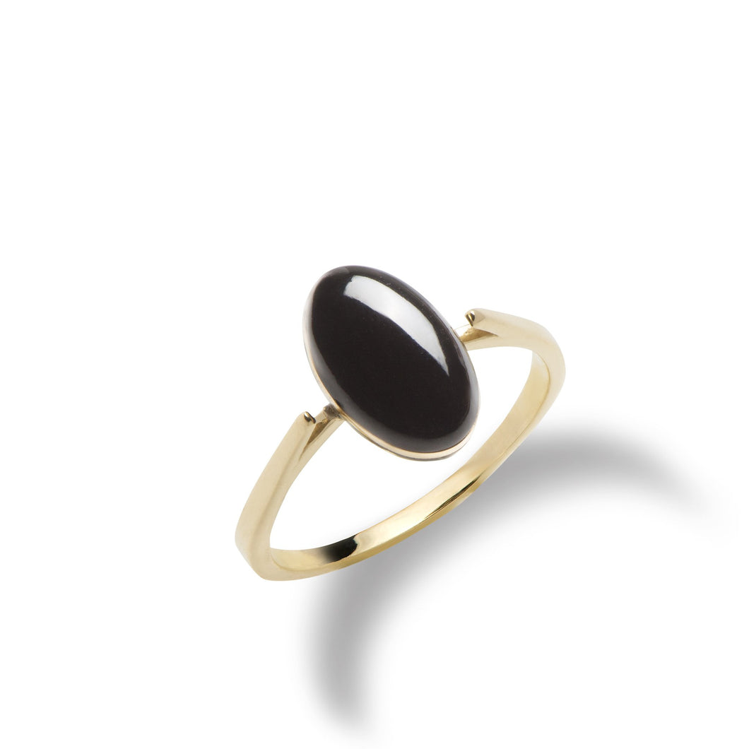 Endless Ocean Black Coral Ring in 14K Yellow Gold