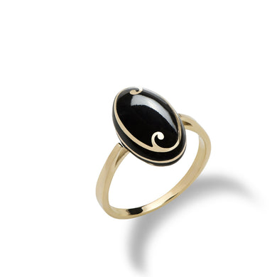 Endless Ocean Inlay Black Coral Ring in 14K Yellow Gold