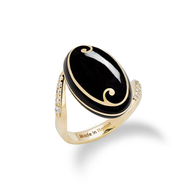Endless Ocean Inlay Black Coral Ring with Diamonds in 14K Yellow Gold