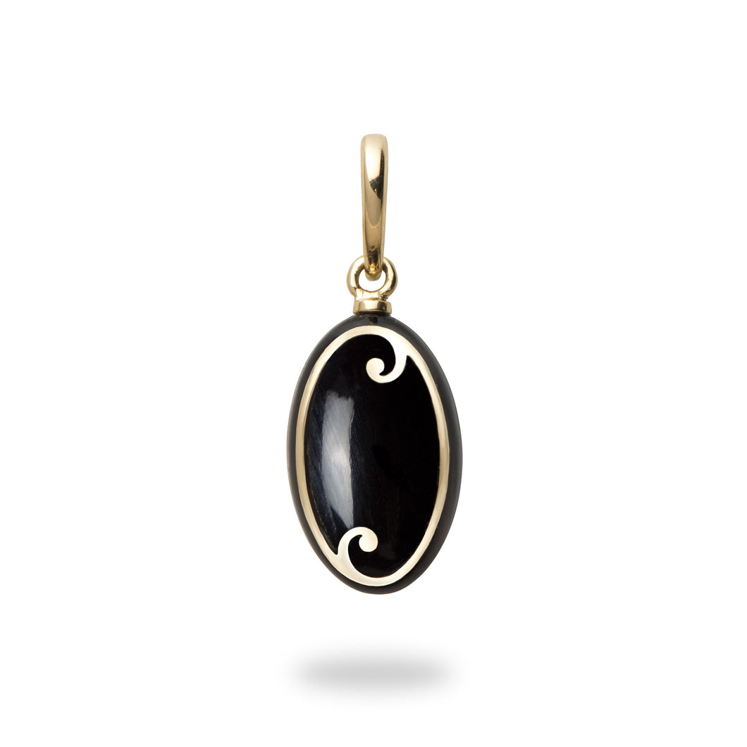 Endless Ocean Black Coral Pendant in 14K Yellow Gold