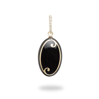 Endless Ocean Black Coral Pendant with Diamonds in 14K Yellow Gold
