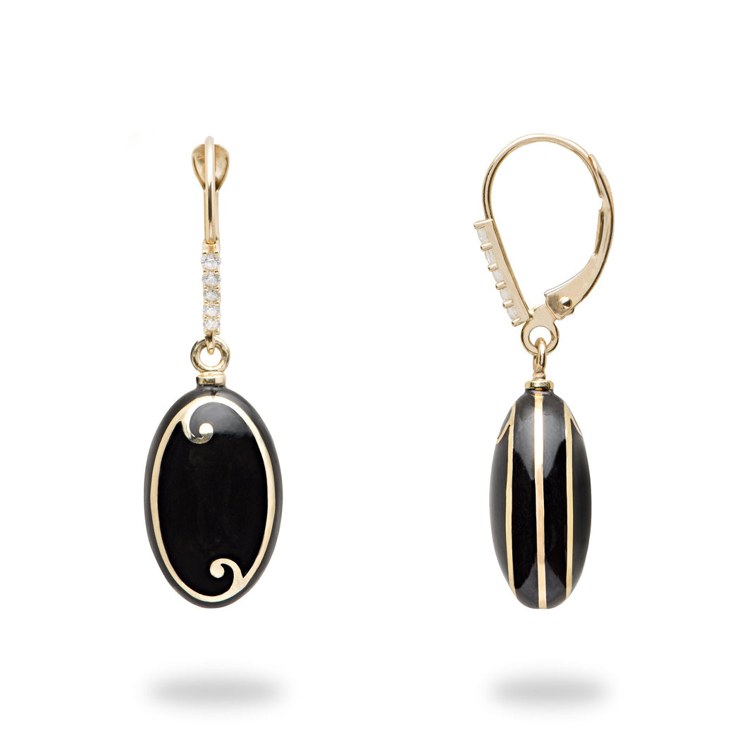 Endless Ocean Black Coral Earnings with Diamonds in 14K Yellow Gold