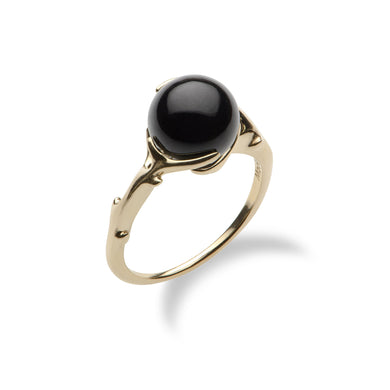 Hawaiian Heritage Black Coral Ring in 14K Yellow Gold (9-9.9mm)