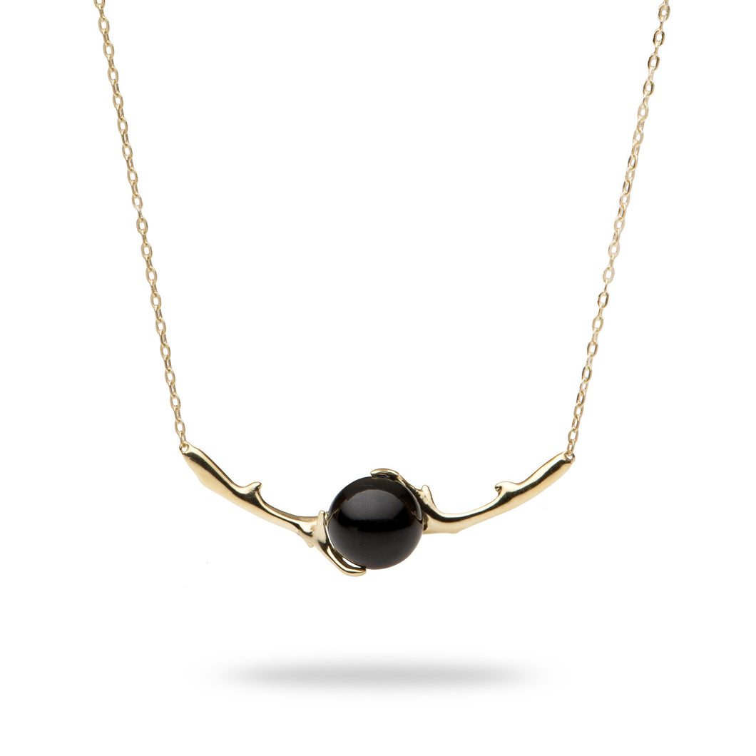 Hawaiian Heritage Black Coral Necklace in 14K Yellow Gold (9-9.9mm)