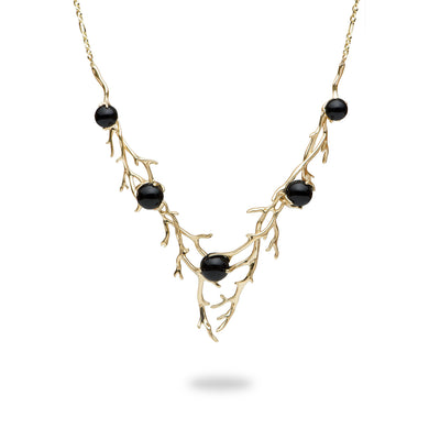Hawaiian Heritage Black Coral Necklace in 14K Yellow Gold (8-10.9mm) 015-06987