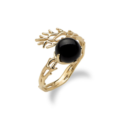 Hawaiian Heritage Black Coral Ring in 14K Yellow Gold (8-8.9mm)