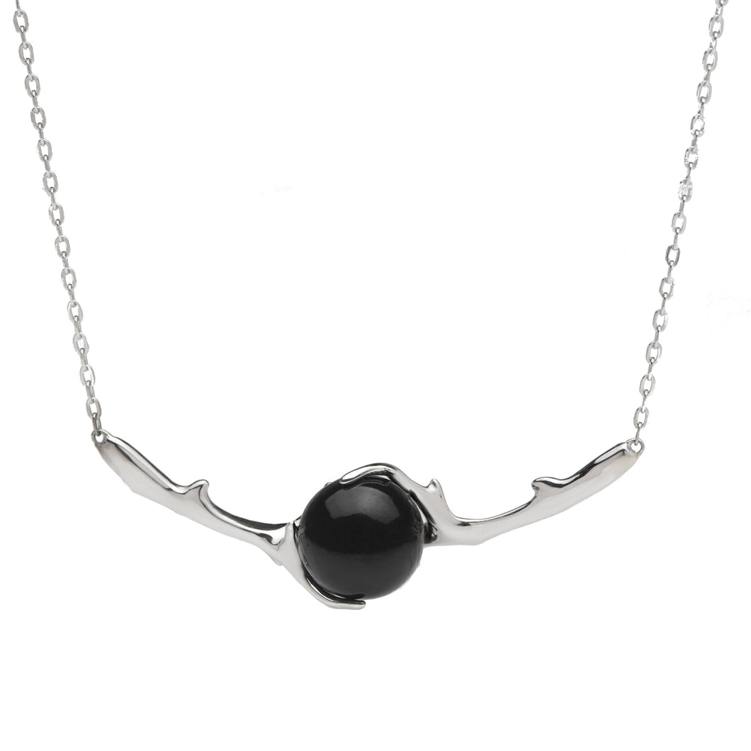 Hawaiian Heritage Black Coral Necklace in 14K White Gold (9-9.9mm)