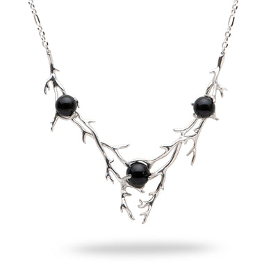 Hawaiian Heritage Black Coral Necklace in 14K White Gold (8-9.9mm)