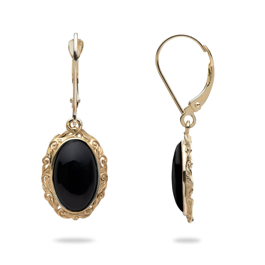 Black Coral Earrings in 14K Yellow Gold