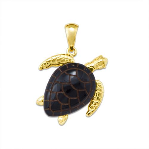 Black Coral Turtle Pendant in 14K Yellow Gold - Large