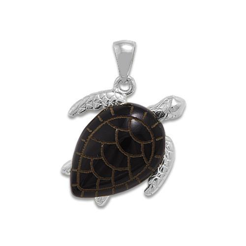 Black Coral Turtle Pendant in 14K White Gold - Medium