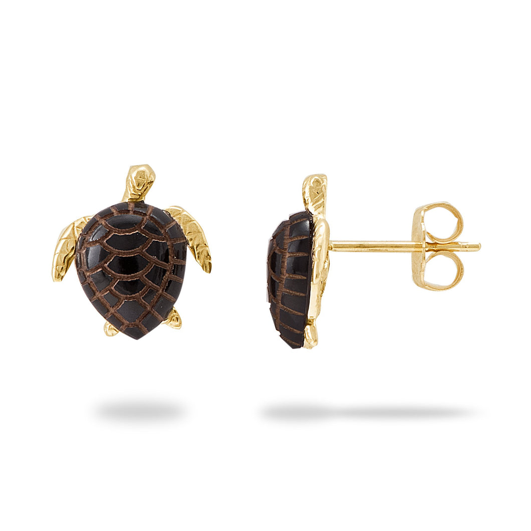 Black Coral Turtle Earrings in 14K Yellow Gold - Small