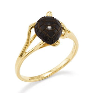 Black Coral Turtle Ring in 14K Yellow Gold