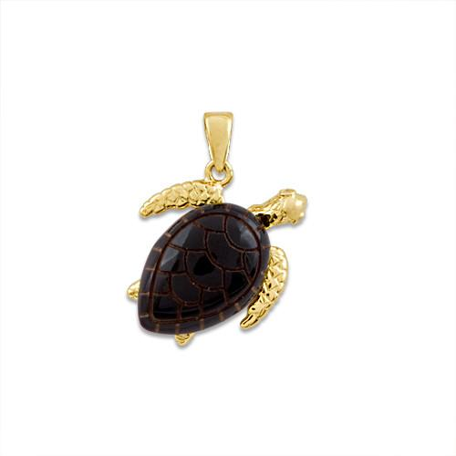 Black Coral Turtle Pendant with Diamonds in 14K Yellow Gold - Medium