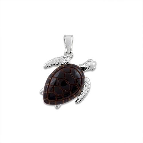 Black Coral Turtle Pendant with Diamonds in 14K White Gold - Medium