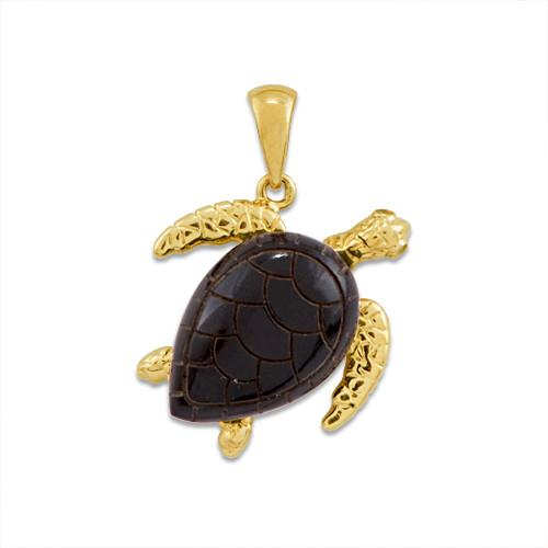 Black Coral Turtle Pendant with Diamonds in 14K Yellow Gold - Large