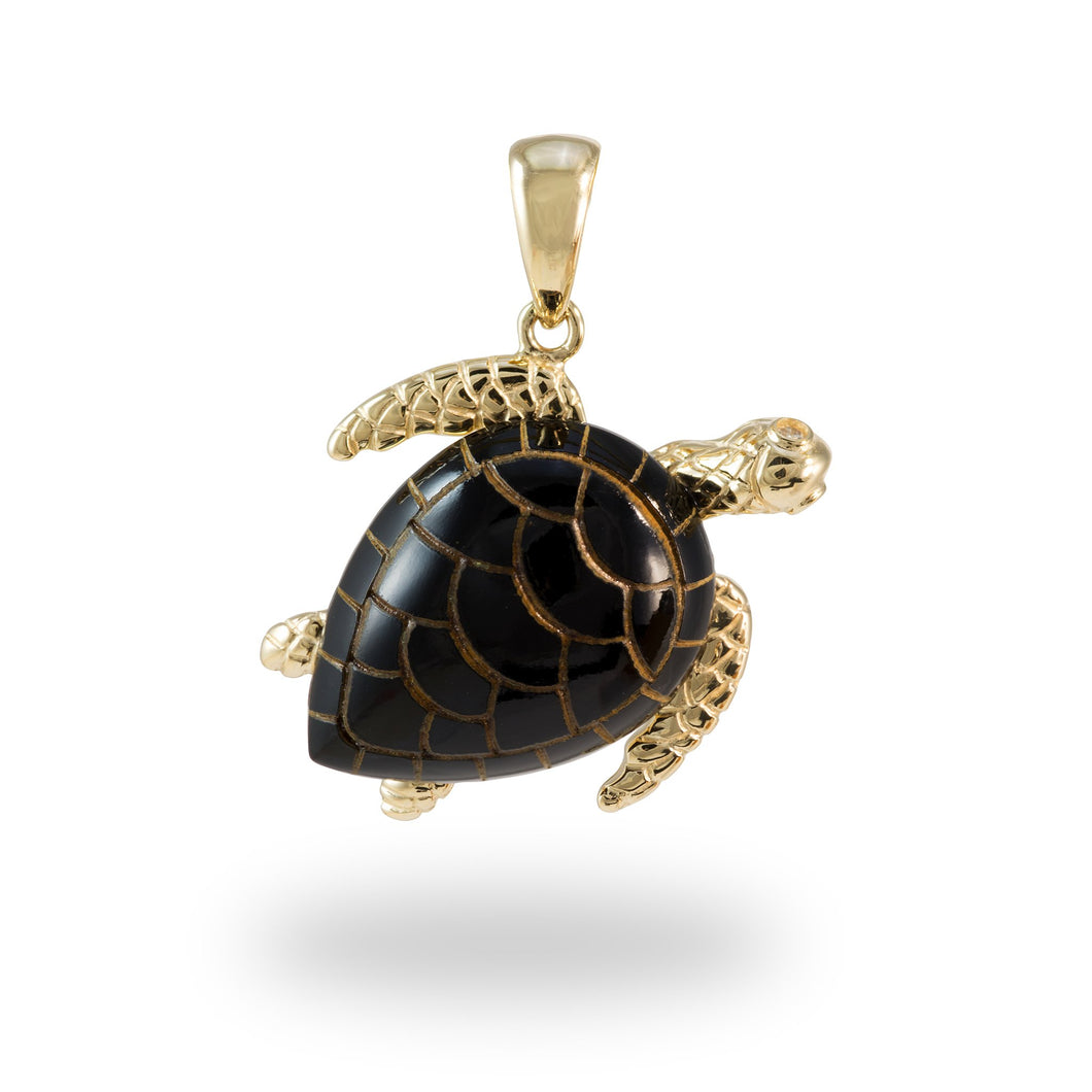 Black Coral Turtle Pendant with Diamonds in 14K Yellow Gold - Extra Large