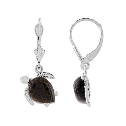 Black Coral Turtle Earrings in 14K White Gold - Small