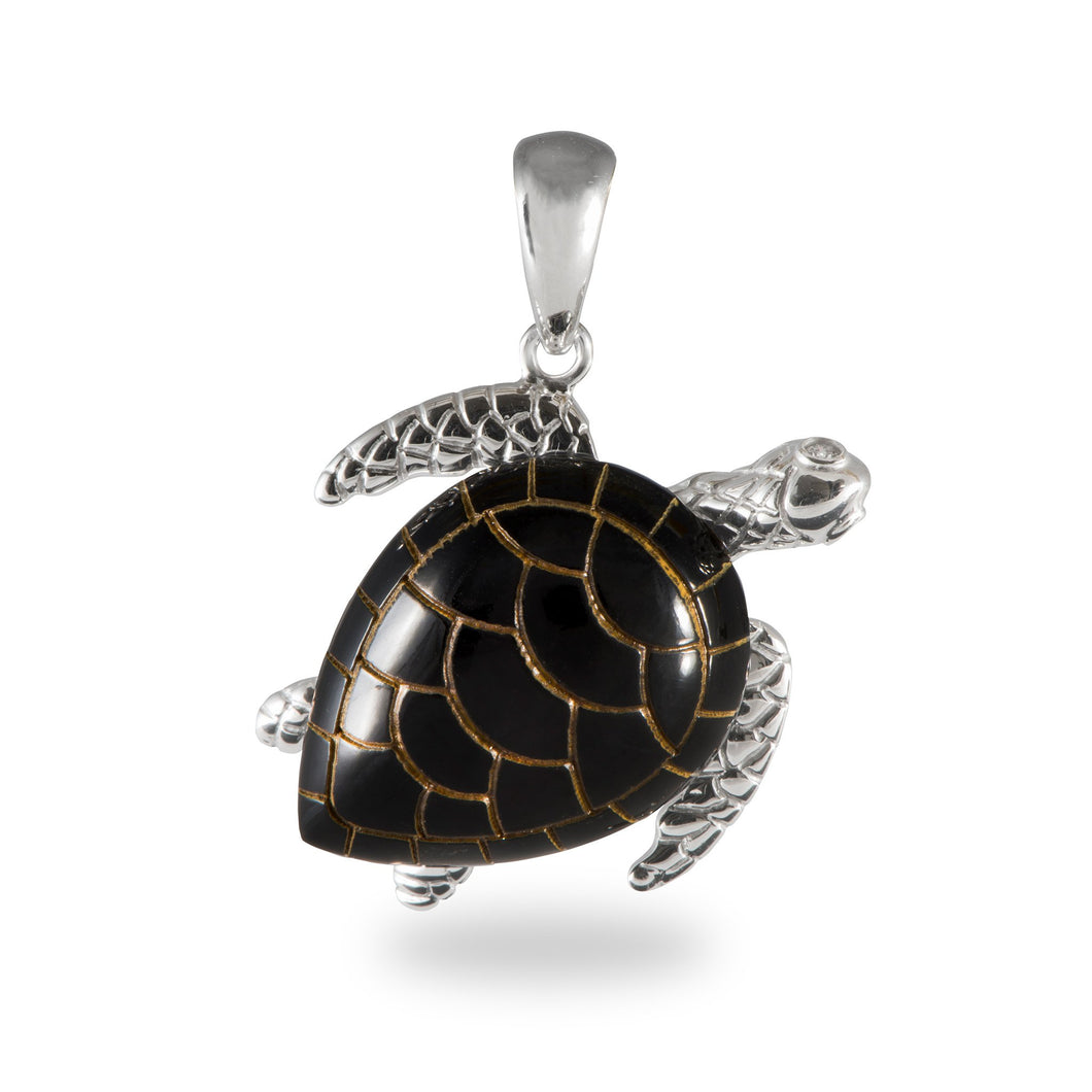 Black Coral Turtle Pendant in 14K White Gold - Extra Large