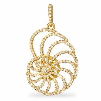 Nautilus Pendant with Diamonds in 18K Yellow Gold - 28mm