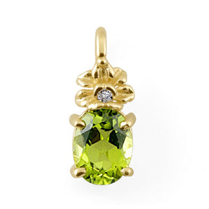 Peridot Pendant with Diamond in 14K Yellow Gold