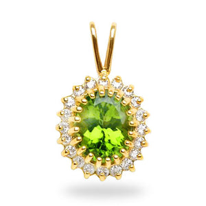 Peridot Pendant with Diamonds in 14K Yellow Gold