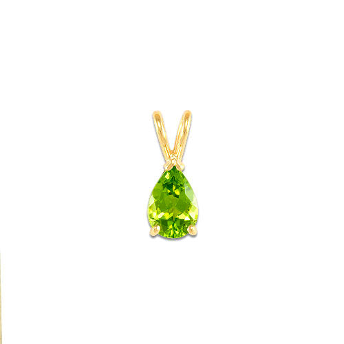 Pendant in 14k yellow gold and pear Peridot stone, 9x6mm