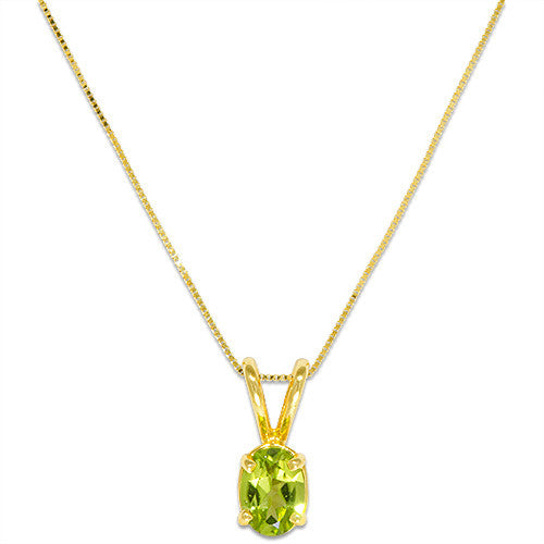 Peridot Necklace in 14K Yellow Gold