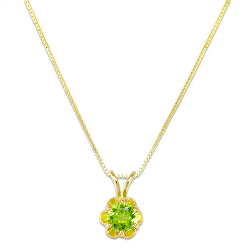 Peridot Necklace in 14K Yellow Gold - 5mm