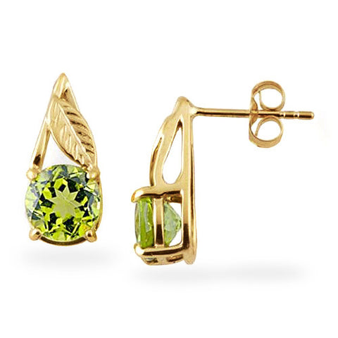 Peridot Earrings in 14K Yellow Gold