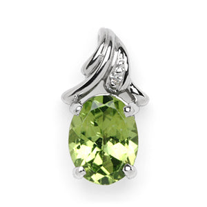 Peridot Pendant with Diamond in 14K White Gold