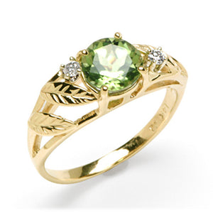 Peridot Ring with Diamonds in 14K Yellow Gold