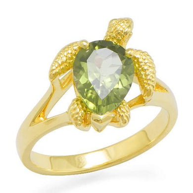 Turtle (Honu) Ring with Peridot in 14k Yellow Gold