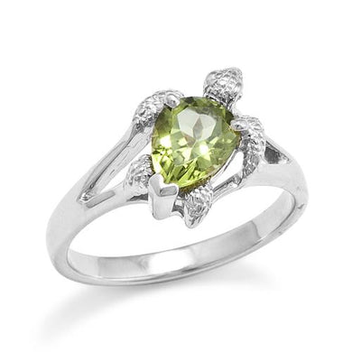 Turtle (Honu) Ring with Peridot in 14K White Gold