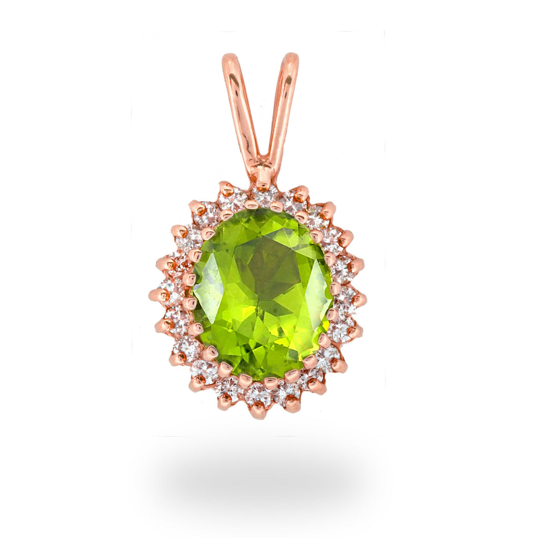 Peridot Pendant with Diamonds in 14K Rose Gold