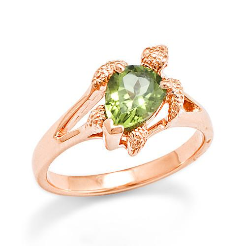 Turtle Ring with Peridot in 14K Rose Gold - 10mm