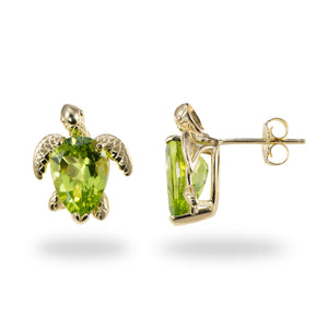 Turtle (Honu) Pierced Stud Earrings with Peridot in 14K Yellow Gold - 13mm
